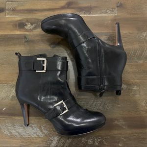 Nine West black leather heeled bootie with buckles